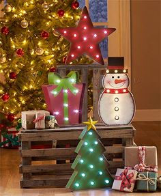 Decorate your home for the holidays with this lighted #Holiday Marquee Decor. With a bold metal design and large bulbs that illuminate with enchanting white light, each piece will add interest to your traditional holiday decor. On/off button.