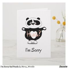 Shop I'm Sorry Sad Panda Card created by Merry_Wrinkle. Drawings For Boyfriend, Cards For Boyfriend, Diy Gifts For Boyfriend, Im Sorry Gifts, Im Sorry Cards, Birthday Greeting Cards, Custom Greeting Cards, Apology Gifts, Handmade Birthday Gifts
