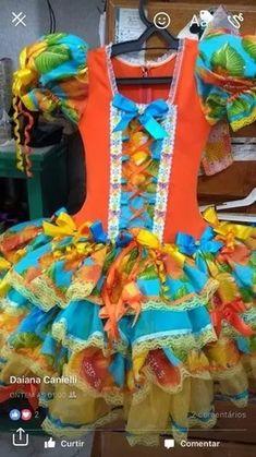vestido festa junina luxo + acessório de cabelo