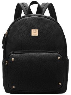 Black Metallic Embellished PU Backpacks
