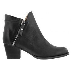 A black faded leather ankle bootie featuring a risen tongue and a silver side zip with a leather strapping for entry.  Leather upper and synthetic lining. Heel height is 6cm.