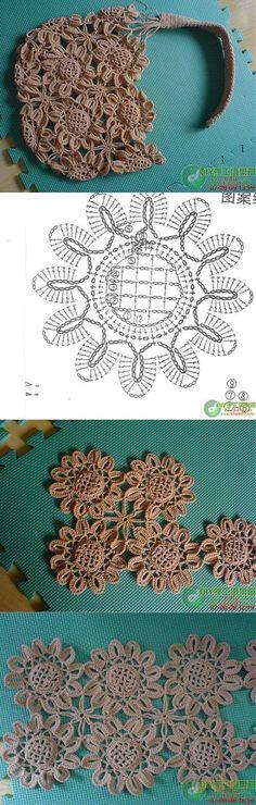 Gift presents for women: Sunflower bag, free crochet patterns | вязание-схемы | Постила