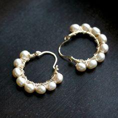 Handmade pearl hoops, beige champagne freshwater pearls, tan, 14k gold filled, wire wrapped, hoop earrings, Mimi Michele Jewelry