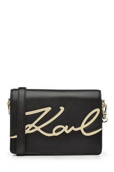 KARL LAGERFELD Leather Shoulder Bag. #karllagerfeld #bags #shoulder bags #leather #