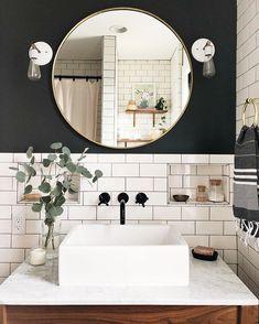 Home Nice 36 Fascinating Powder Room Decoating Ideas. White Vanity Bathroom, Modern Bathroom, Small Bathroom, Mirror Bathroom, Bathroom Ideas, Remodel Bathroom, Budget Bathroom, Bathroom Furniture, Above Counter Bathroom Sink