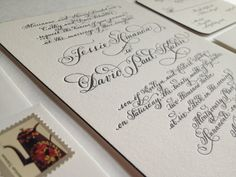 """Letterpress Wedding Invitation // hand calligraphy with Edge Painting on Duplex Love No. 4, """"Mansfield Park"""" Copy"""