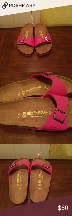 Birkenstock Women's Madrid Like New Adorable mirror pink sandals with single upper leather straps . Lining is suede. Adjustable straps. Barely worn. Birkenstock  Shoes Sandals