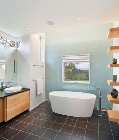 Berkshire Country House, Upstate New York contemporary bathroom, ombre wall tile Contemporary Bathrooms, Modern Bathroom, Glass Tile Bathroom, Glass Tiles, Bathroom Wall, Tiled Bathrooms, Aqua Bathroom, Brown Bathroom, Downstairs Bathroom