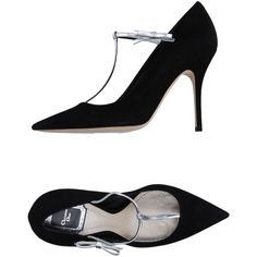 Dior Court ($710) ❤ liked on Polyvore featuring shoes, pumps, black, black shoes, christian dior pumps, bow pumps, black leather shoes and leather pumps