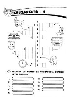 Ortografia - Cruzadinha da Letra H Alphabet, Sight Word Activities, Learning To Write, Letter N, Alpha Bet