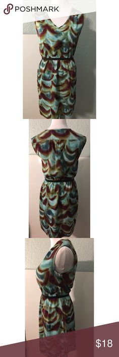 Ann Taylor Loft dress - size 4 petite Gorgeous shift dress from The Loft. Pull on style, elastic waist, v-neck, and fully lined . And it has pockets!! Mix of blues, greens & brown. Size 4 petite. Worn a few times but in great condition. Ann Taylor Loft Dresses