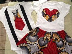 Ankara twin baby (boy & girl) onesie set by VQ Fashions                                   www Facebook.com/vqfashions