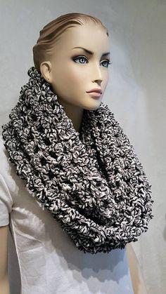 Crochet, Black Crochet Infinity Scarf, Crochet Scarf, Infinity Scarf, Black Infinity Scarf, Gray Infinity Scarf, Black and White Scarf by Freshofftheneedle on Etsy