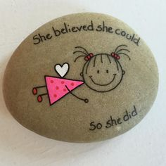 """#artwork #artrocks #artstones #beachstone #cutegirl #cuteness #drawings #faith #fly #flyhigh #girl #happy #hobby #instaart #instaartist #iloverocks #leap…"""