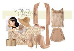 """Monochrome beige"" by jpstar ❤ liked on Polyvore featuring Hermès, JNB, self-portrait, Steve Madden, Tom Ford, Panacea, Ippolita, AERIN, MaxMara and monochrome"