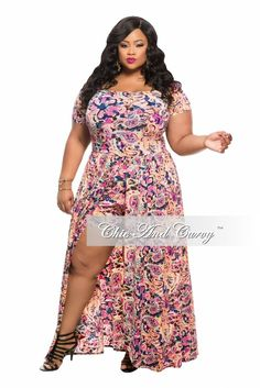 d0db91a74e1 Final Sale Plus Size Romper with Attached Long Skirt in Floral Pink Print