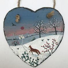 Homeward Bound - acrylic on a 6 inch slate heart (SOLD)