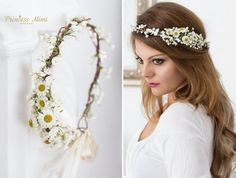 Adorable bohemian flower crown perfect to wear at festivals, prom, weddings, for your bridesmaids, christenings, photo shoots and many moore. This piece is open in the back and fastens with double face satin ribbon for the perfect adjustable fit* Great Bride,Bridesmaid and Flower Girl piece* Color/Flowers: white, ivory, yellow and green,* Made in Germany* Production time: about  10 business days.* Delivery time to Germany about 3 business days (  International buyers: Please read below...