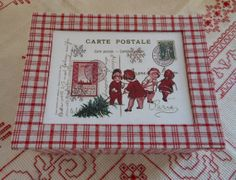 """Christmas box (9""""x 7.1"""" x 3.1"""") in vintage French linen"""