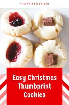 So easy! These Christmas thumbprint cookies are fast, and delicious too! Christmas Baking, Christmas Cookies, Jam Thumbprint Cookies, Vegetarian Cookies, Fruit Jam, Five Ingredients, Strawberry Jam, Simple Christmas, Chocolate Recipes