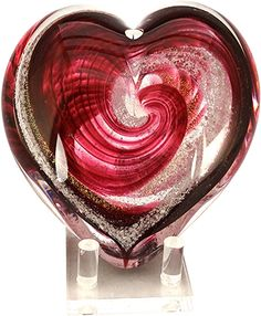 Celebration Ashes Heart (Red/Gold) Cremation Ash Glass Memorials www.celebrationashes.com