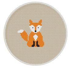 Fox Cross stitch pattern, Mini cross stitch pattern, Instant Download, cute cross stitch, Free shipping, PDF, Cute fox, MCS053