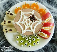 Halloween Greek Yogurt Fruit Dip and Spooky Fruit Snacks from KitchenFunWithMy3Sons.com