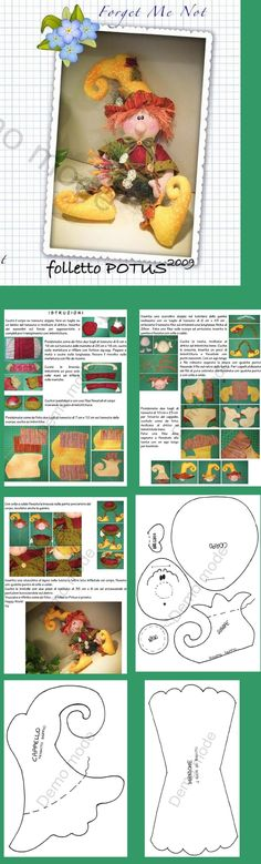 Discover thousands of images about free doll pattern ♥. Felt Crafts, Fabric Crafts, Sewing Crafts, Sewing Projects, Christmas Sewing, Christmas Elf, Christmas Ornaments, Doll Clothes Patterns, Doll Patterns