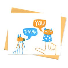 finger puppet thank you cards- could totally block print this