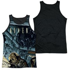 ALIEN/LURKING-ADULT POLY TANK TOP BLACK BACK-WHITE-SM