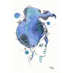 Original watercolor painting Blue Haired Girl with by MilkFoam, $50.00