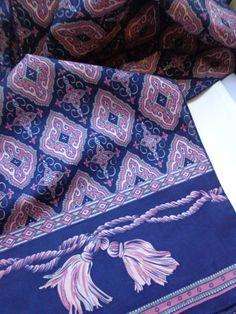 Vintage Navy Blue & Lavender Retro Print Silk Scarf 70s 80s, Long Sash…