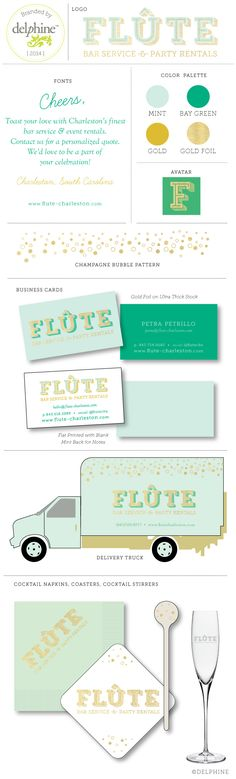 FLÛTE bar service and event party rentals logo and branding by Delphine