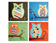 Owl prints Retro nursery artwork for children baby. 4 - retro nursery art prints of owls in trees for kids rooms owl nursery by WallFry.via Etsy. Owl Artwork, Nursery Artwork, Owl Nursery, Nursery Ideas, Nursery Pictures, Owl Pictures, Painting For Kids, Art For Kids, Spearmint Baby