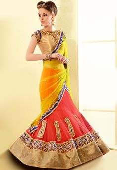 Buy Pink And Yellow Crystals Work Net Lehenga Style Saree,Online Saree Shopping Lehanga Saree, Lehenga Style Saree, Bollywood Lehenga, Net Lehenga, Bollywood Dress, Saree Blouse, New Fashion Saree, Indian Fashion, Women's Fashion