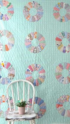 Vintage Dresden quilt with light blue background