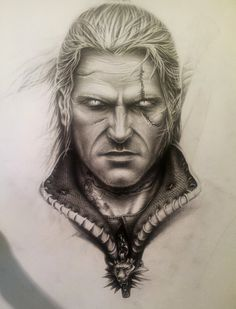 Geralt of Rivia portrait (halfway mark...) by CatapultedCarcass.deviantart.com on @deviantART