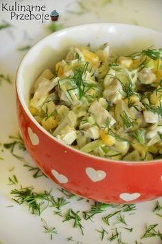 Sałatka z marynowanymi pieczarkami i porem, Sałatka pieczarkowa i porem, sałatka z pieczarkami marynowanymi, ogórkami kiszonymi, kukurydzą i porem. Veg Recipes, Salad Recipes, Vegetarian Recipes, Cooking Recipes, Healthy Recipes, Recipies, Appetizer Salads, Appetizer Recipes, Dinner Recipes