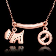 New 18K Gold Plated Chain Link Women Cute Dog & Bone Pendant Necklace Jewelry #bona #Charm