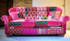 Patchwork chesterfield settee