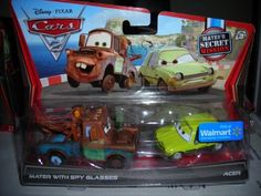 DISNEY PIXAR CARS 2 MATERS SECRET MISSION MATER WITH SPY GLASSES ACER THE PACER 2 PACK EXCLUSIVE VEHICLE DIECAST VHTF NEW 1:55 by MATTEL/WALMART. $11.74. BUY YOURS NOW BEFORE THEY ARE GONE!!!!. COLLECT THEM ALL. NOT RECOMENDED FOR 3 YEARS AND UNDER. 1:55 SCALE DIECAST. BRAND NEW RELEASE-INCLUDES EXCLUSIVE VEHICLE MATER WITH SPY GLASSES. NEW RELEASE FROM THE UPCOMING MOVIE DUE OUT IN JUNE, CARS 2 WORLD RACE, CHECK OUT FUNTASTIC GLOBAL WE HAVE THEM ALL INCLUDING THE WALMART...