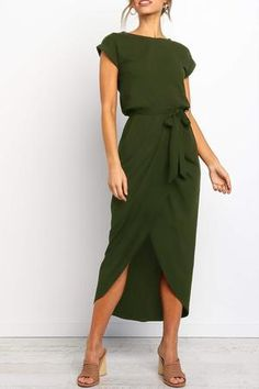 Details: Material: Polyester Style: Casual Sleeve Length: Short Sleeve Neckline: O Neck Dresses Length: Ankle Length Silhouette: Straight SIZE(IN) US Sleeve Length Bust Waist Hip Length S M L XL 14 Tips: Due Source by dress casual Simple Dresses, Cute Dresses, Casual Dresses, Summer Dresses, Green Dress Casual, Green Dress Outfit, Dresses Dresses, Cotton Dresses, Party Dresses