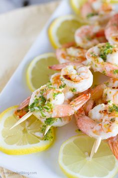 Lemon Shrimp Kabobs ~ They only take minutes to make, and are perfect for summer grilling! Shrimp Kabob Recipes, Shrimp Kabobs, Best Seafood Recipes, Fish Recipes, Great Recipes, Favorite Recipes, Grilled Shrimp, Recipies, Cooking Time