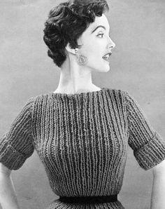 Women's 1960s Chunky Vintage Top -- PDF KNITTING PATTERN on Etsy.