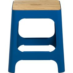 Need a really skinny/small end table and this just might do plus double as extra seating?  But wish this came in different color options.  Reviews say the tru color has much more turquoise tones - it's not royal blue, but still, something more neutral would have been more my speed.  hitch peacock blue stool in dining chairs, bar stools | CB2