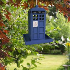 Police Box Bird Feeder Seeds Food House Pets Squirrel Proof Blue Garden Outdoor