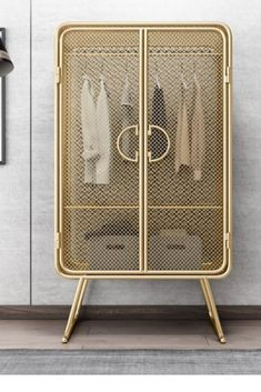 Golden Storage Wardrobe This beautiful wardrobe will be the focal point in your room, house. Metal Furniture, Diy Furniture, Furniture Design, Design Retro, Wardrobe Storage, Home Furnishings, Diy Home Decor, Bedroom Decor, House Styles