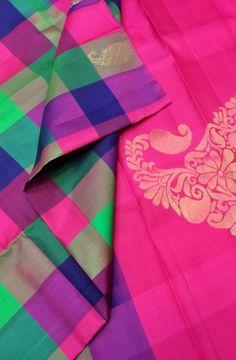 Multicolor Handloom Kanjeevaram Silk Saree Best Indian Saris CLICK Visit link above for more info Indian Silk Sarees, Ethnic Sarees, Silk Cotton Sarees, Indian Beauty Saree, Pure Silk Sarees, Silk Saree Kanchipuram, Handloom Saree, Checks Saree, Bridal Hairdo