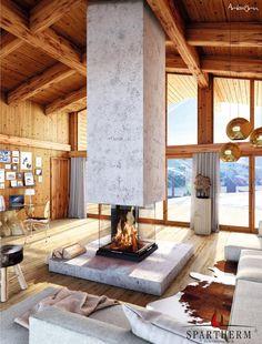 Torne o seu lar elegante e confortável com Lareira Central Spartherm  #AquecimentoCentral/Lenha #LareiraCentral #lareiras #Spartherm