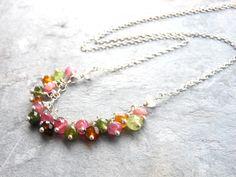 Tourmaline Necklace Multi Color Gemstone Necklace, Sterling Silver beaded bib necklace, Multi Stone Necklace on Etsy, $56.00